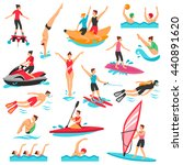 water sport flat decorative... | Shutterstock .eps vector #440891620