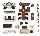 top view office interior... | Shutterstock .eps vector #440894968