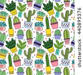 cactus and other succulents...   Shutterstock .eps vector #440895376