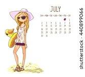 July. 2017 Calendar With Cute...