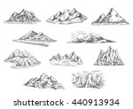 sketched mountain landscapes... | Shutterstock .eps vector #440913934