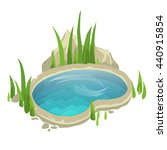 A Small Pond With Grass For...