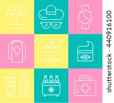summer skin protection icons.... | Shutterstock .eps vector #440916100