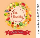 fruits and labels with concepts ... | Shutterstock . vector #440921086