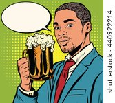 elegant black man with a beer... | Shutterstock .eps vector #440922214