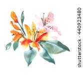 Watercolor Red Tiger Lily...