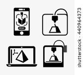 3d printer simple icons set.... | Shutterstock .eps vector #440964373