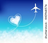 plane in the clouds with heart... | Shutterstock .eps vector #440968576
