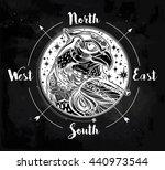 detailed hand drawn bird of... | Shutterstock .eps vector #440973544