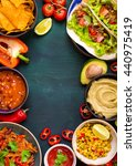 mixed mexican food background.... | Shutterstock . vector #440975419