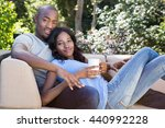 portrait of young couple... | Shutterstock . vector #440992228