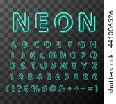 bright realistic neon letters ... | Shutterstock .eps vector #441006526