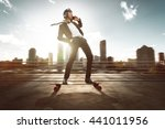 businessman on skateboard | Shutterstock . vector #441011956