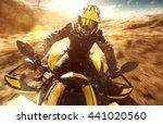atv driver on full speed | Shutterstock . vector #441020560