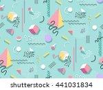 raster image memphis pattern of ... | Shutterstock . vector #441031834