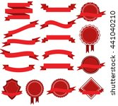 set with red ribbons and... | Shutterstock . vector #441040210