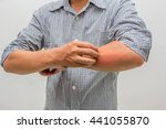 men scratch the itch with hand  ... | Shutterstock . vector #441055870
