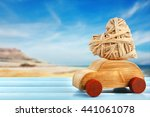 wooden car with a wicker heart... | Shutterstock . vector #441061078