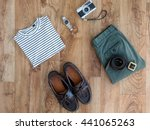 collection of traveler clothes... | Shutterstock . vector #441065263
