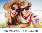 portrait of couple posing at... | Shutterstock . vector #441066298