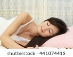 beautiful woman sleeps in the... | Shutterstock . vector #441074413