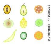 set of fruit halves. slices of... | Shutterstock .eps vector #441085213