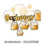 honey and bee label for logo... | Shutterstock .eps vector #441105268