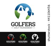 logo of a golfer in motion.... | Shutterstock .eps vector #441106456