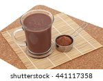 Small photo of Chocolate maca health drink and supplement powder in a metal scoop. Used as an aphrodisiac and also by body builders and in weight training.