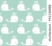 cute whale pattern. sea vector... | Shutterstock .eps vector #441136888