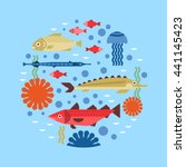 marine background with fish... | Shutterstock .eps vector #441145423