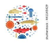 nautical illustration with fish ... | Shutterstock .eps vector #441145429