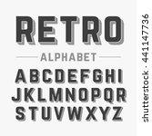 retro style alphabet vector... | Shutterstock .eps vector #441147736