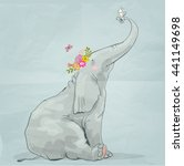 Cute Cartoon Elephant With...