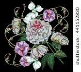 bouquet peony with bindweed    Shutterstock . vector #441152830