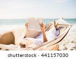 woman reading book in hammock... | Shutterstock . vector #441157030