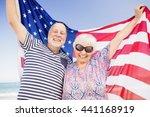senior couple holding american... | Shutterstock . vector #441168919