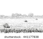 countryside landscape sketch... | Shutterstock .eps vector #441177838