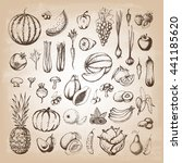 set of fruits and collection of ... | Shutterstock .eps vector #441185620