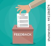 hand putting feedback form... | Shutterstock .eps vector #441186874