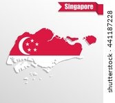 singapore map with flag inside... | Shutterstock .eps vector #441187228