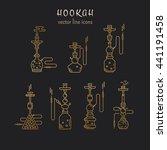 hookah vector linear icons... | Shutterstock .eps vector #441191458