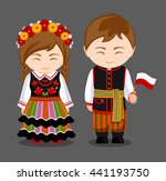 poles in national dress with a...   Shutterstock .eps vector #441193750
