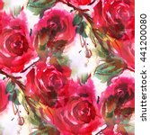 Stock photo seamless pattern with red roses hand drawn illustration watercolor 441200080