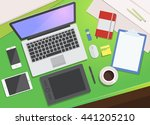 realistic workplace... | Shutterstock .eps vector #441205210