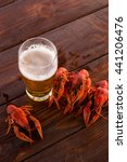 full glass of beer with boiled... | Shutterstock . vector #441206476