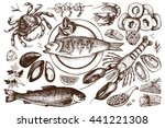 vector seafood illustrations... | Shutterstock .eps vector #441221308