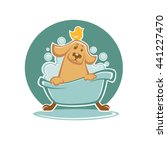 wash your pet  funny cartoon... | Shutterstock .eps vector #441227470