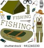 fisherman equipment and... | Shutterstock .eps vector #441260230