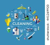 cleaning round composition with ... | Shutterstock .eps vector #441269920